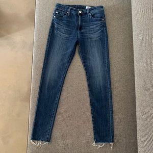 AG Farrah Raw Hem High-Rise Skinny Ankle Jean